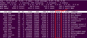 top command in linux memory process